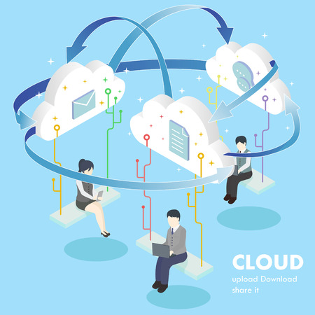 flat 3d isometric design of cloud computing concept