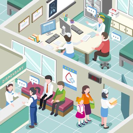 3d izometrycznej płaska konstrukcja klinice wnętrza