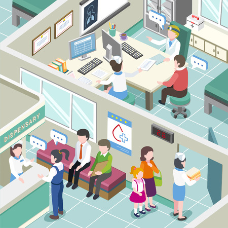 clinics: flat 3d isometric design of medical clinic interior