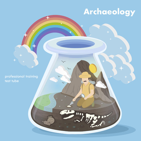 paleontological: flat 3d isometric design of archaeology concept