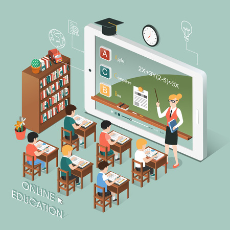 educação: projeto 3D isométrico plano de educação on-line com tablet