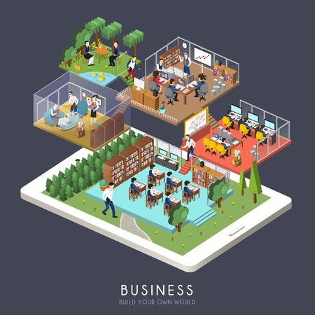 비즈니스 개념의 평면 3D 아이소 메트릭 디자인
