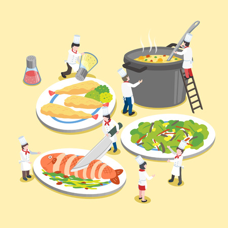 cook: flat 3d isometric design of delicious dishes with little cooks