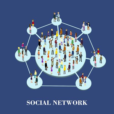 internet network: flat 3d isometric design of social network