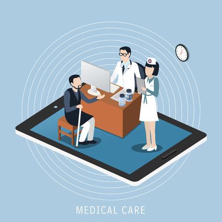 Piatto disegno isometrico 3D del concetto di assistenza medica Archivio Fotografico - 44314630