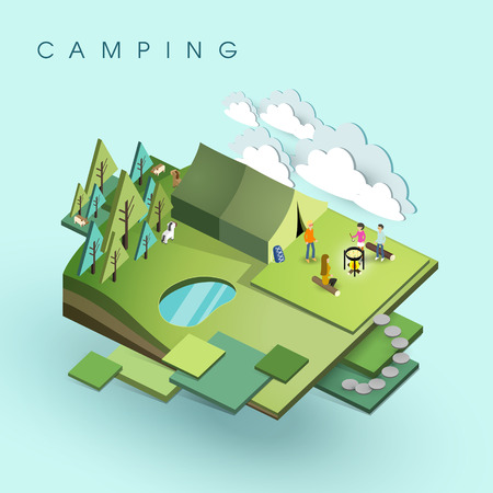 family hiking: flat 3d isometric design of camping activity Illustration