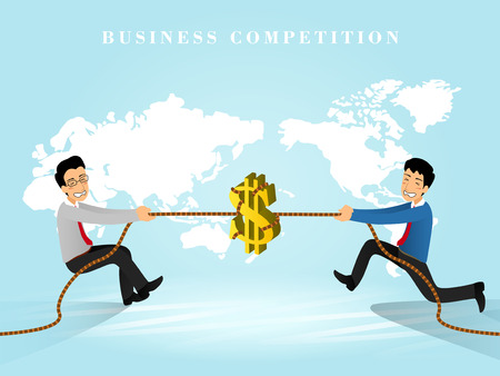 ビジネス競争のフラット 3次元等尺性デザイン