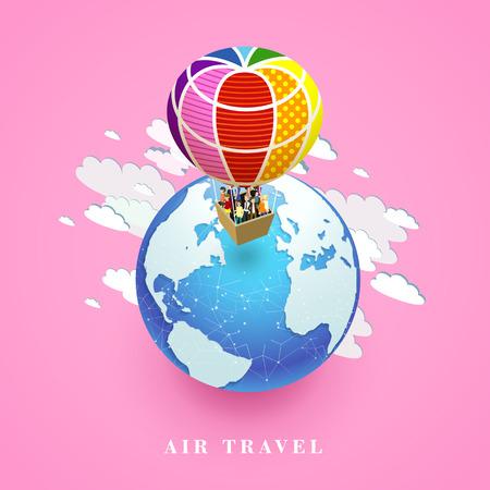 air travel: flat 3d isometric design of air travel