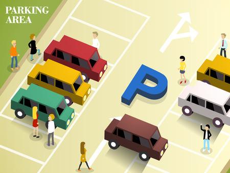주차 공간 평면 3D 아이소 메트릭 디자인 일러스트