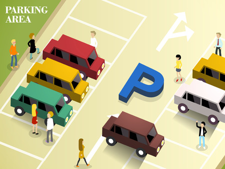 flat 3d isometric design of parking area