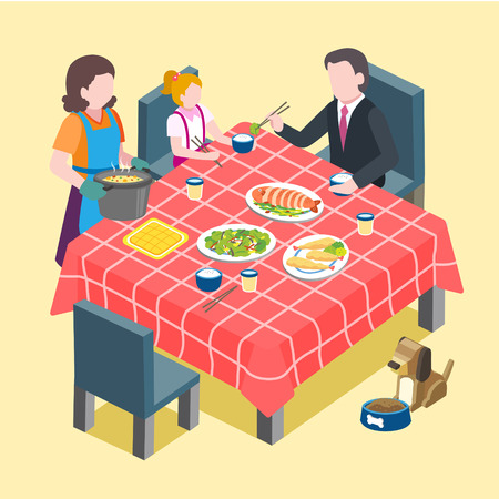 flat 3d isometric design of family reunion scene