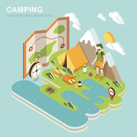 turismo: piatto 3d disegno isometrico di avventura campeggio