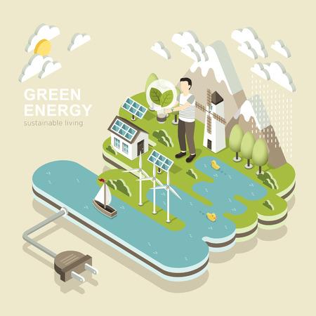 녹색 에너지의 평면 3D 아이소 메트릭 디자인 일러스트