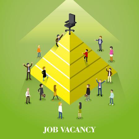 job vacancy: flat 3d isometric design of job vacancy