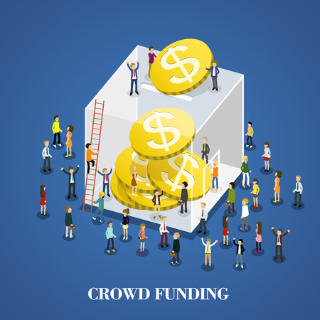 flat 3d isometric design of crowd funding
