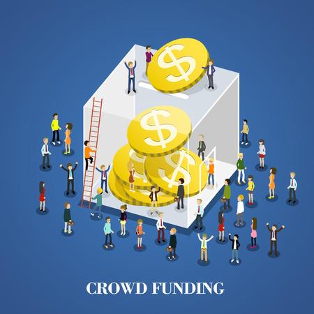 flat 3d isometric design of crowd funding