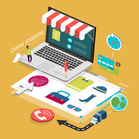 selling service: flat 3d isometric design of online shopping concept Illustration