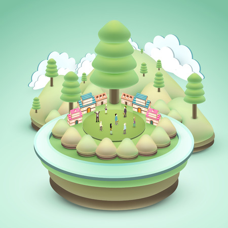 outdoor scenery: flat 3d isometric design of adorable outdoor scenery Illustration