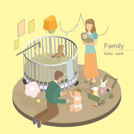love icon: flat 3d isometric design of family baby care concept