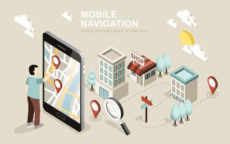vlakke 3d isometrische ontwerp van de mobiele navigatie Stock Illustratie