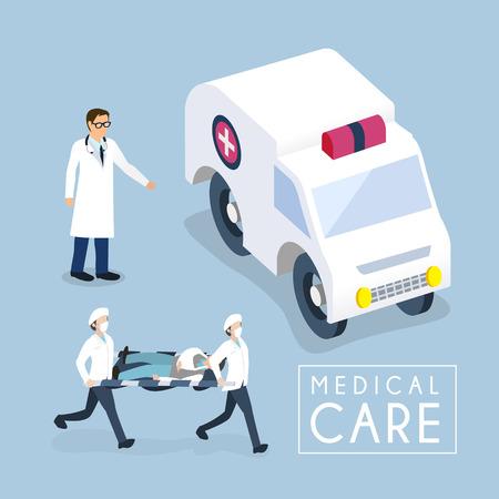 emergencia medica: diseño 3D isométrica plano del concepto de atención médica Vectores
