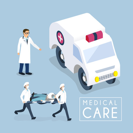 emergency medical: flat 3d isometric design of medical care concept