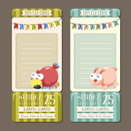 birthday invitation: adorable animal character birthday party invitation collection Illustration
