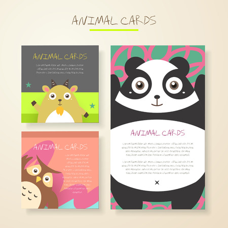 cute panda: lovely cartoon animal characters cards collections set Illustration