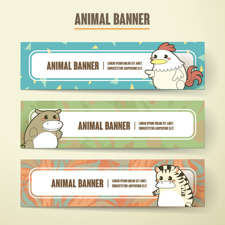beige background: adorable cartoon animal banner collection set isolated on beige background Illustration