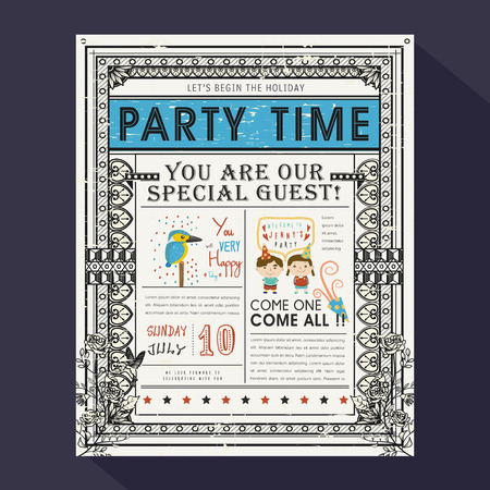 cartoon friends: adorable cartoon birthday party invitation template collection