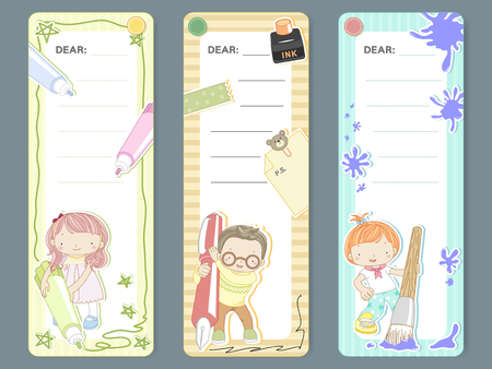 writes: adorable cartoon style memo pad template design set