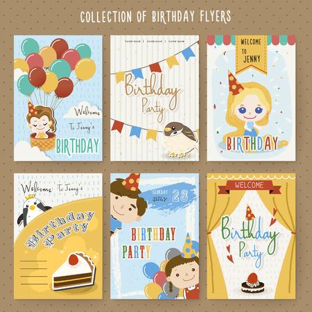 compleanno: adorabile cartone animato compleanno invito a una festa modello di raccolta Vettoriali