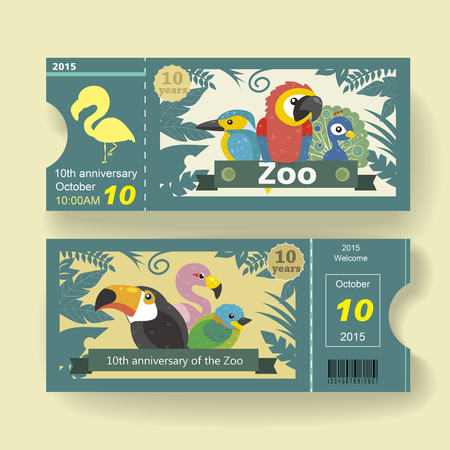adorable 10th anniversary ticket design template for zoo Reklamní fotografie - 44560010
