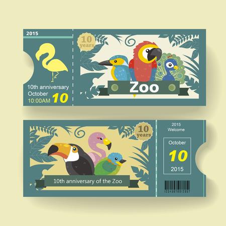 diversion: Plantilla de diseño de billete de 10 aniversario adorable para zoológico Vectores
