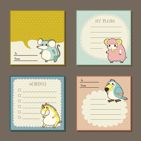 memos: adorable animal characters memo pads collection set Illustration