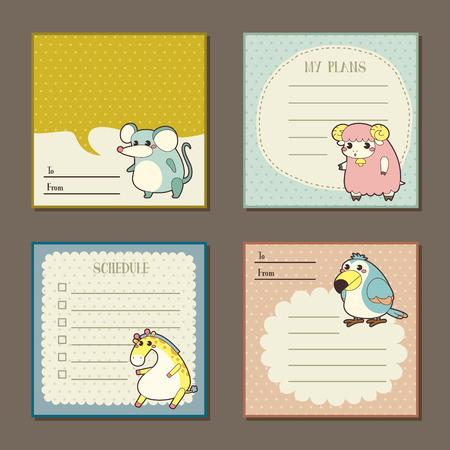 papel de notas: personajes animales conjunto de recopilaci�n almohadillas nota adorable