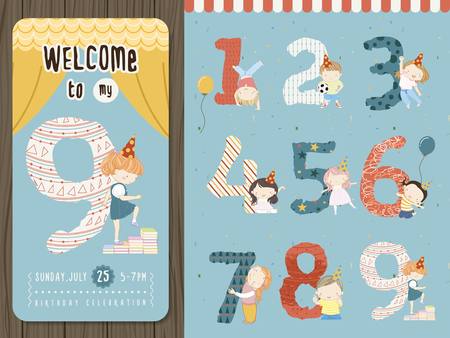 kids background: adorable cartoon birthday party invitation template collection