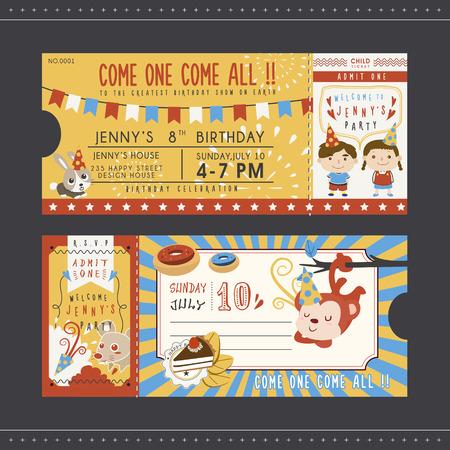 かわいい漫画の誕生日パーティの招待状テンプレート コレクション  イラスト・ベクター素材