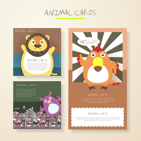 cartoon bat: lovely cartoon animal characters cards collections set Illustration