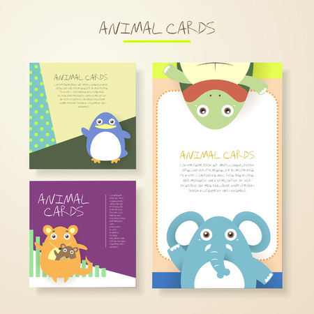 children turtle: lovely cartoon animal characters cards collections set Illustration