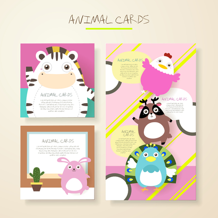 cute cartoon kids frame: lovely cartoon animal characters cards collections set Illustration