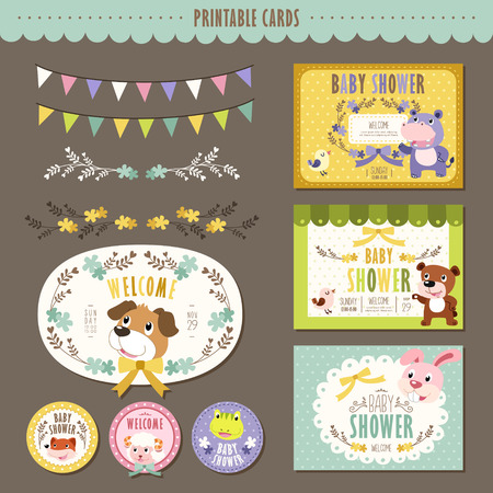 baby shower party: adorable animal characters baby shower cards collection set