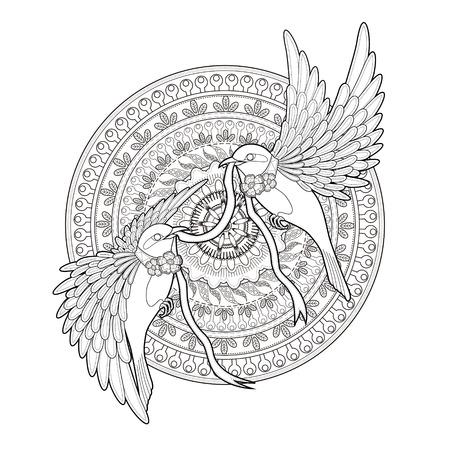 エレガントな鳥の絶妙なスタイルでページを着色
