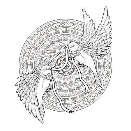 adults: elegant bird coloring page in exquisite style