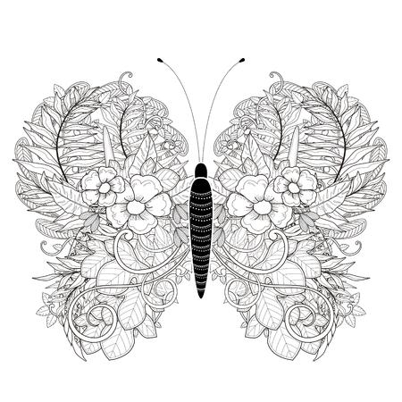 절묘한 스타일의 우아한 나비 색칠 페이지 일러스트