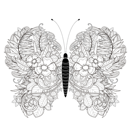 elegant butterfly coloring page in exquisite style Vettoriali