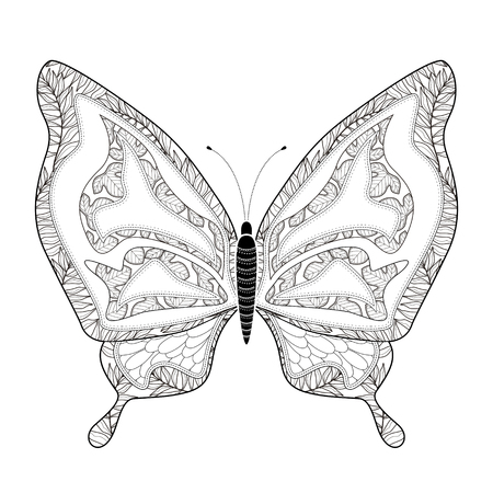 Elegant Butterfly Coloring Page In Exquisite Style Royalty Free ...