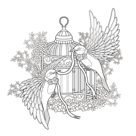 cage: elegant bird coloring page in exquisite style