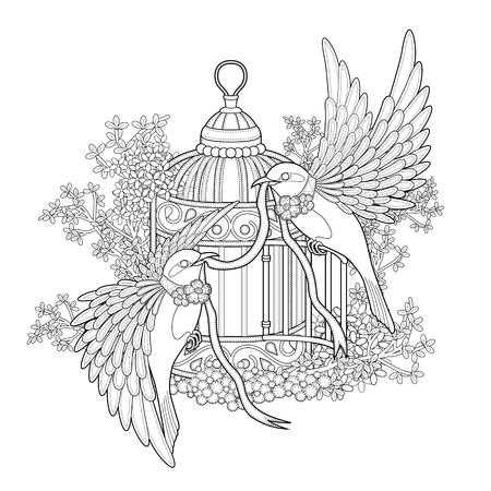 tatouage oiseau: élégante Coloriage oiseau dans un style exquis Illustration
