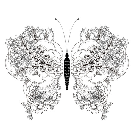 adults: elegant butterfly coloring page in exquisite style Illustration